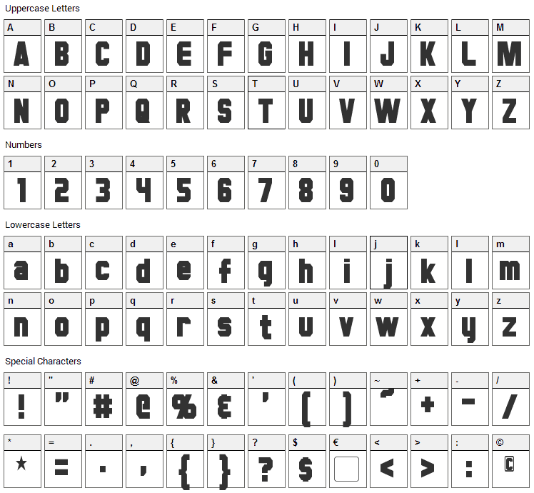 Hauser Font Character Map