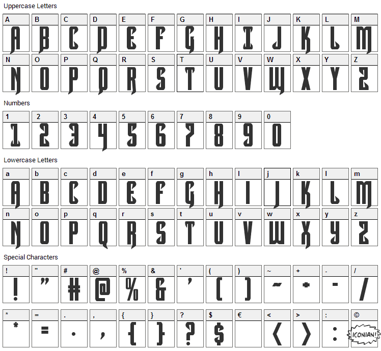 Hawkmoon Font Character Map