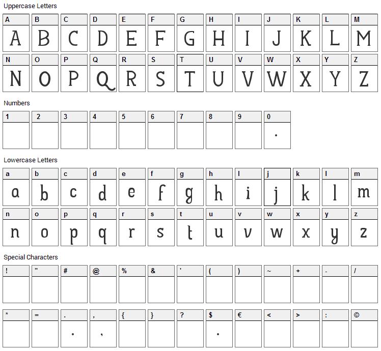 Hayyu Kaget Font Character Map