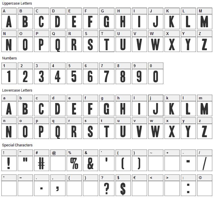 Headline Font Character Map