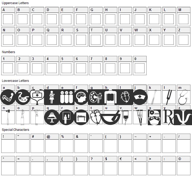 Healthcare Symbols Font Character Map