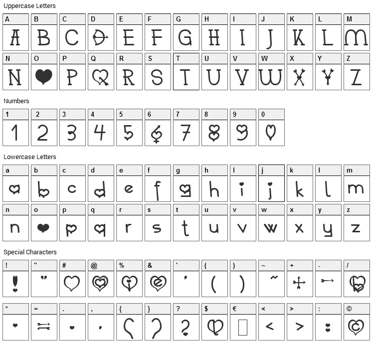 Heart 2 Heart Becker Font Character Map