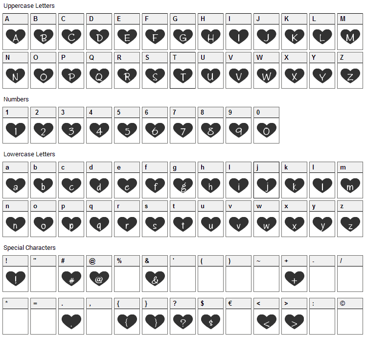 Heart Attack Font Character Map