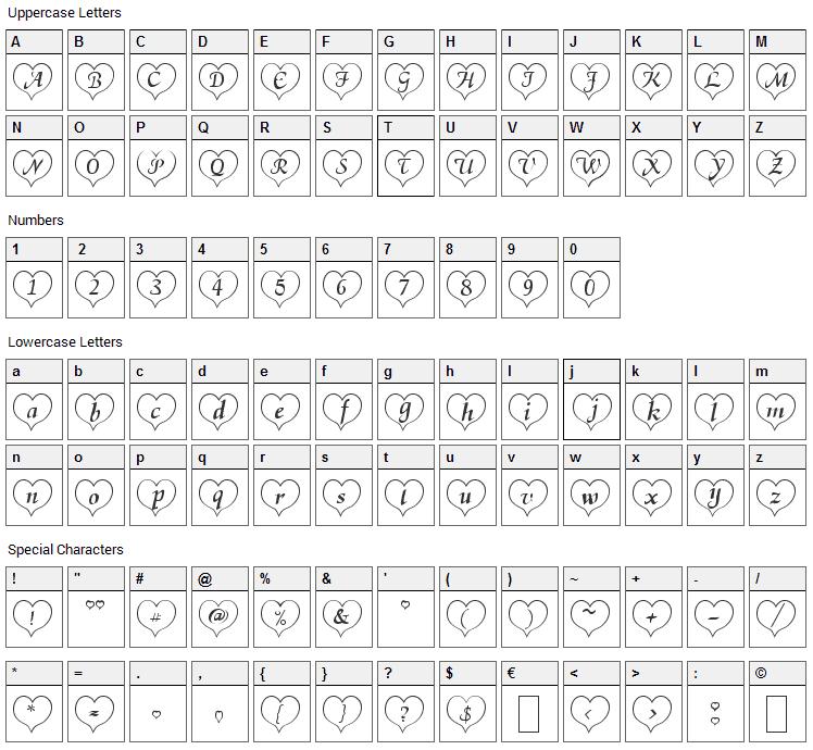 Heart Becker Font Character Map