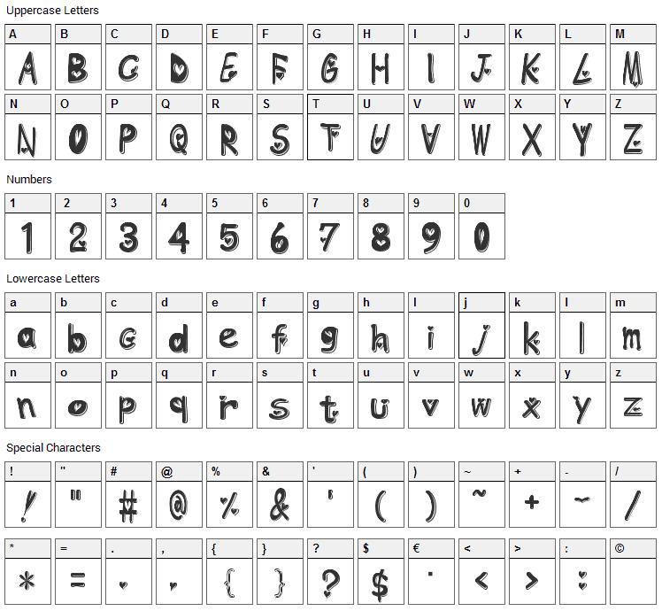 Heart Emboss Font Character Map