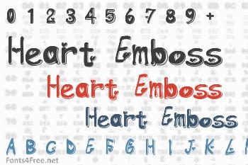 Heart Emboss Font