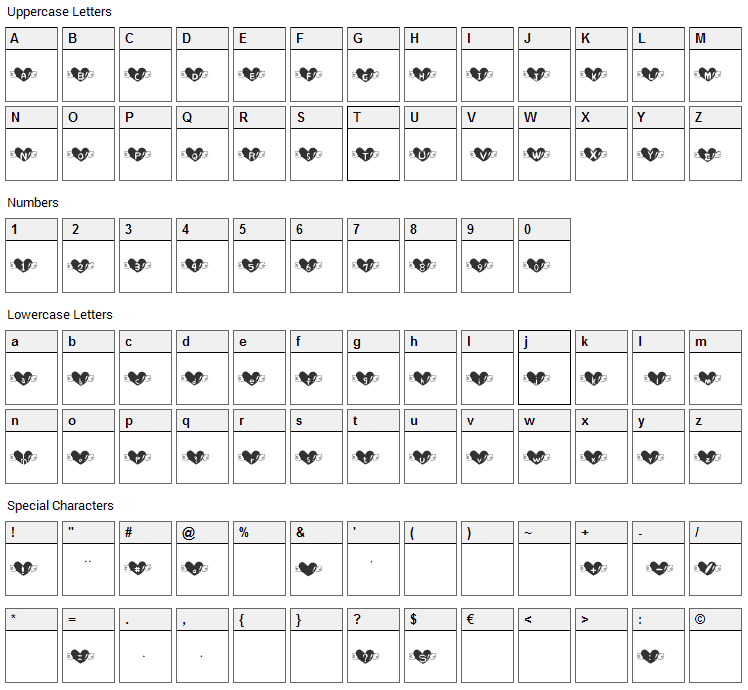 Heart Font Character Map