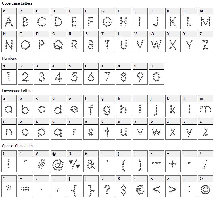 Heart Heaven Font Character Map