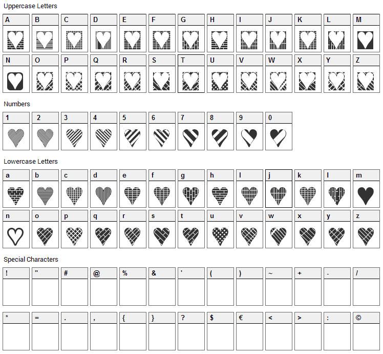 Heart Things 3 Font Character Map