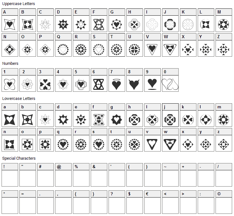 Heart Things Font Character Map