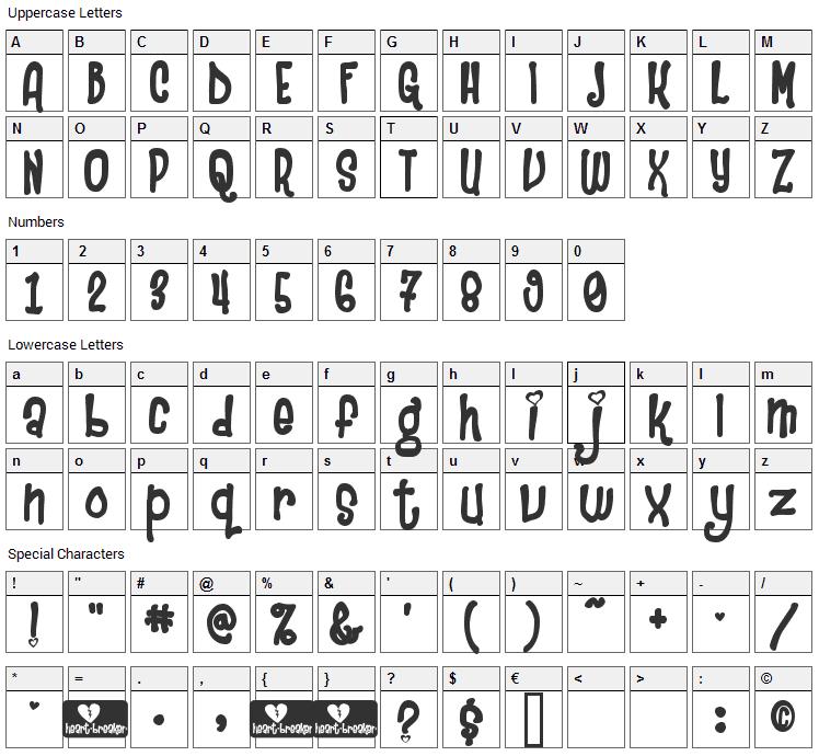 Heartbreaker Font Character Map