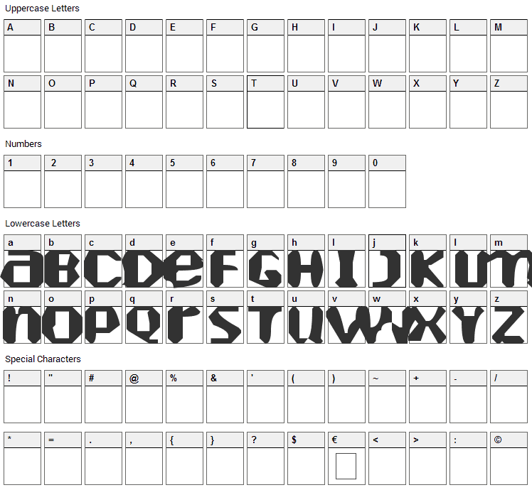 Heartely Fontely Font Character Map