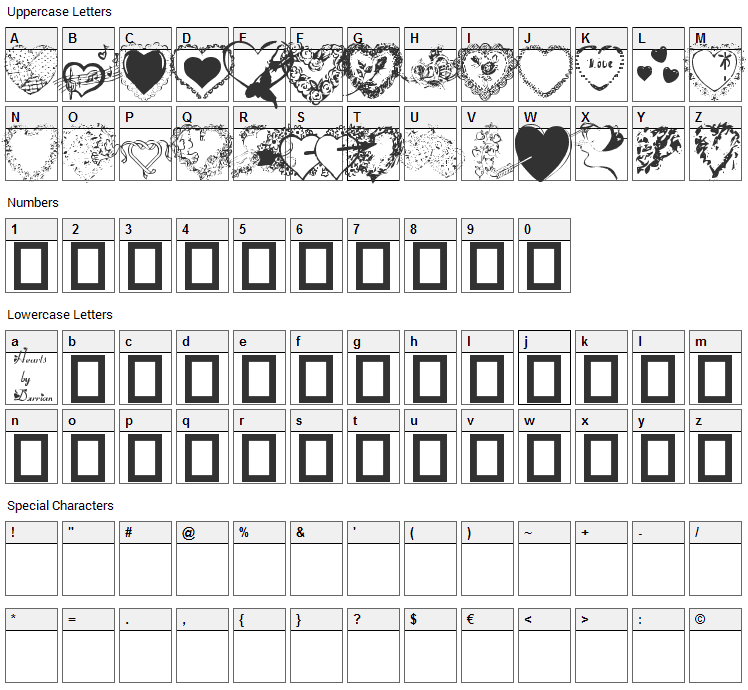 Hearts by Darrian Font Character Map