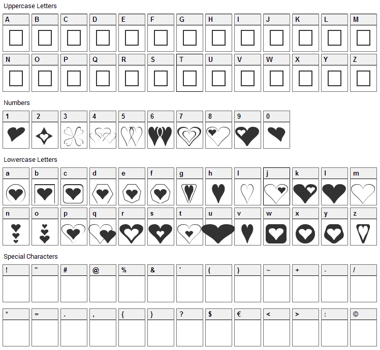 Hearts for 3D FX Font Character Map