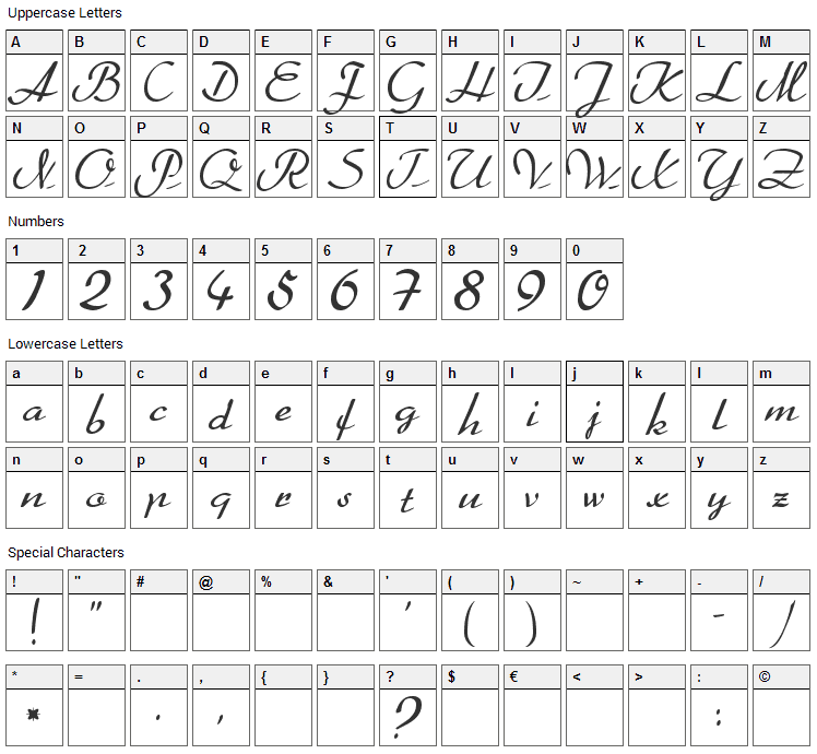Heather Font Character Map