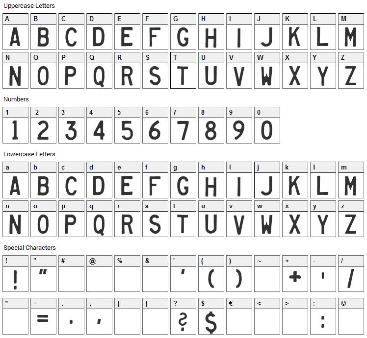 Heavy Equipment Font Character Map