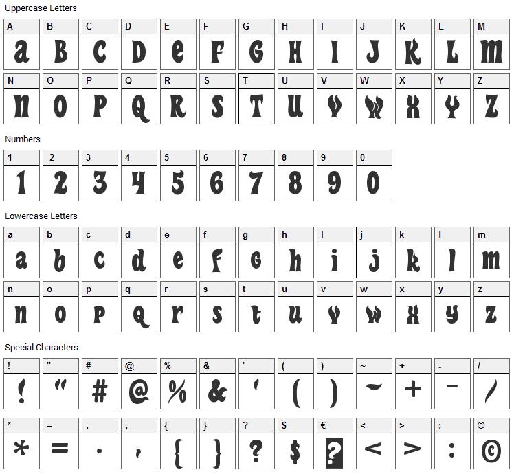 Heavy Heap Font Character Map