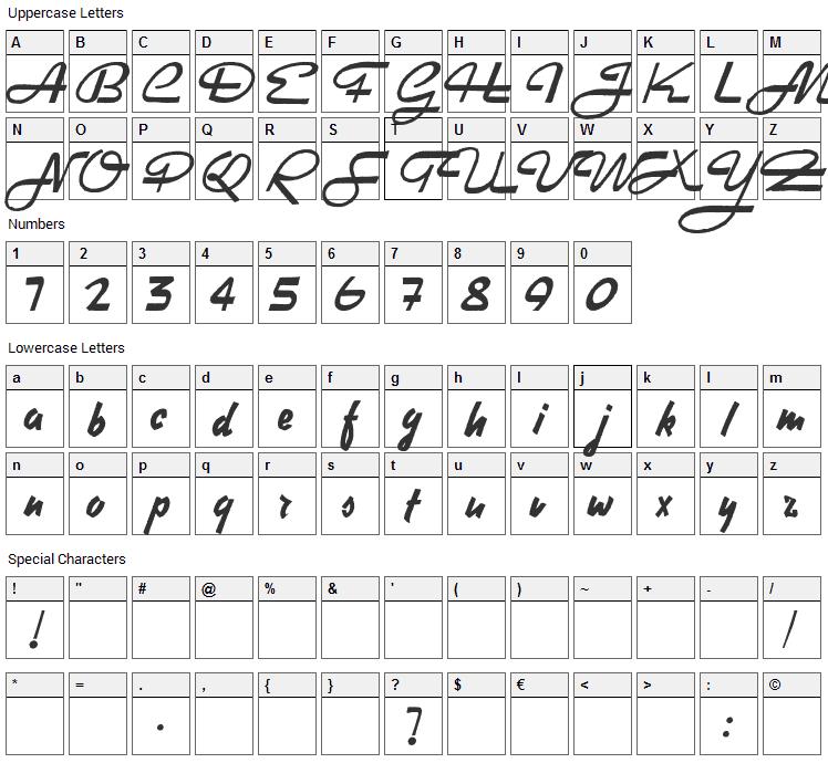 Heavy Rock Font Character Map