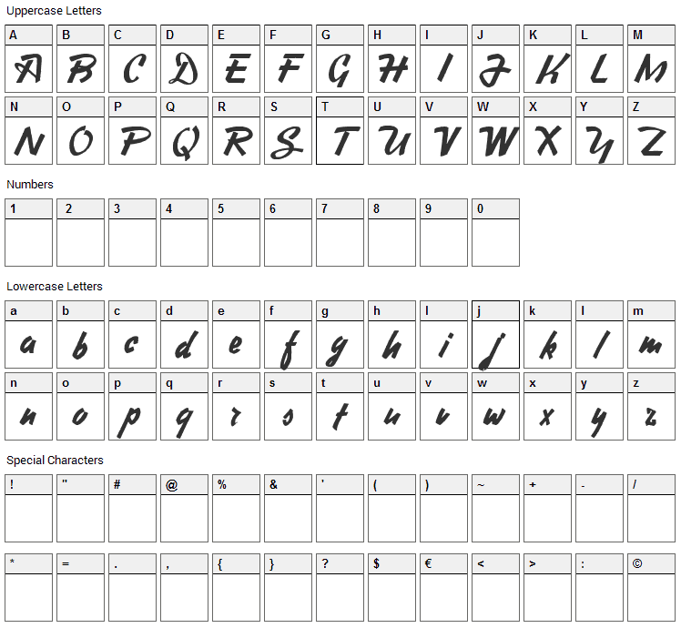 Heavy Squared Writing Font Character Map