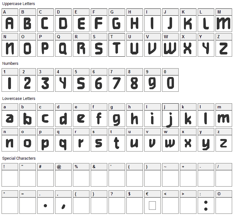 Heavy Weight Gamer Font Character Map
