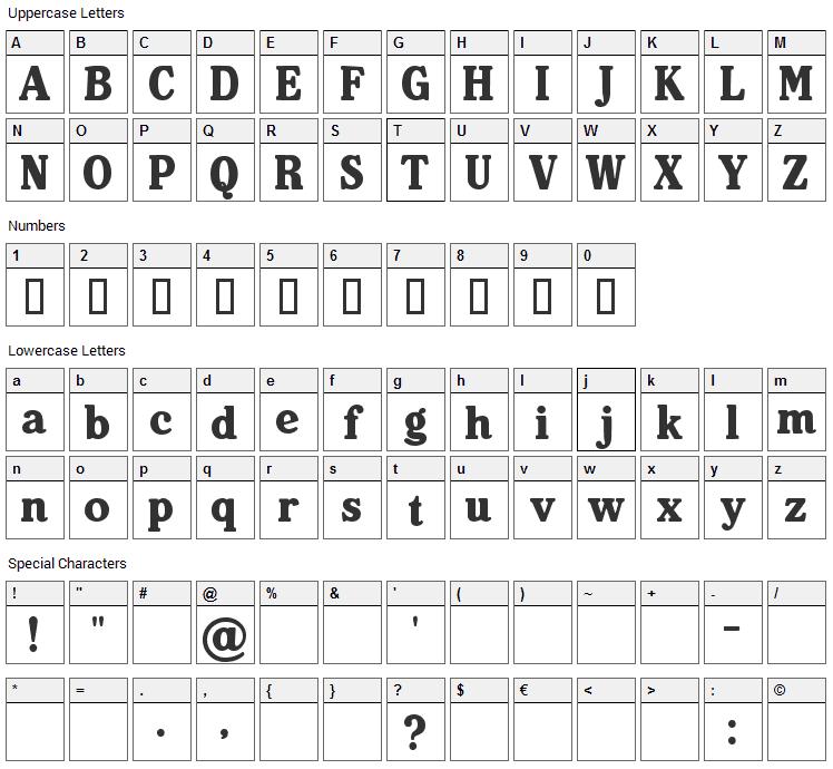 Heineken Font Character Map