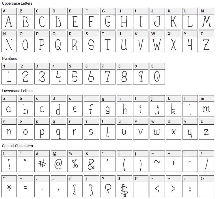 Heirany Font Character Map