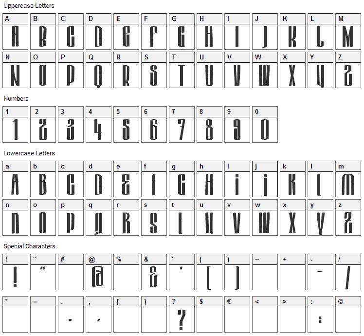 Hektor Font Character Map