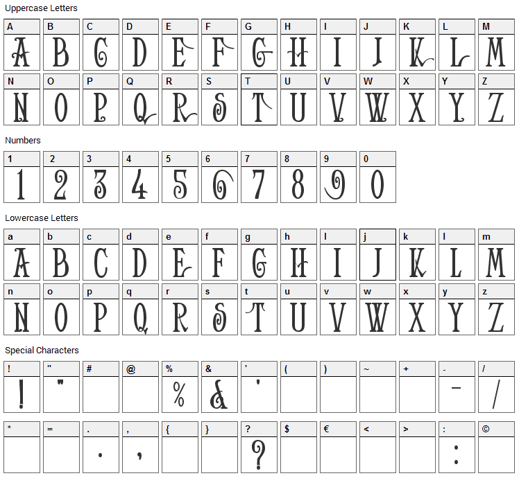 Helena Font Character Map