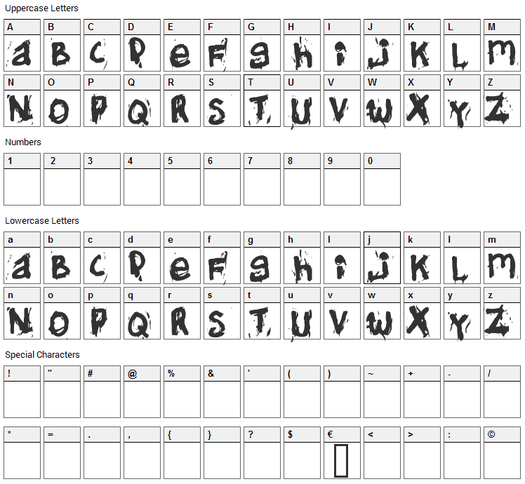 Helifonter Font Character Map