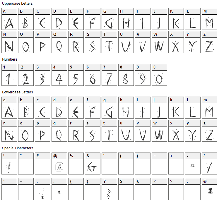 Hellas Dust Font Character Map
