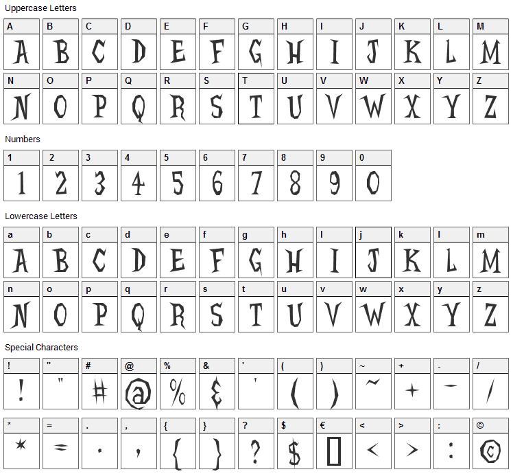 Hellcats Font Character Map