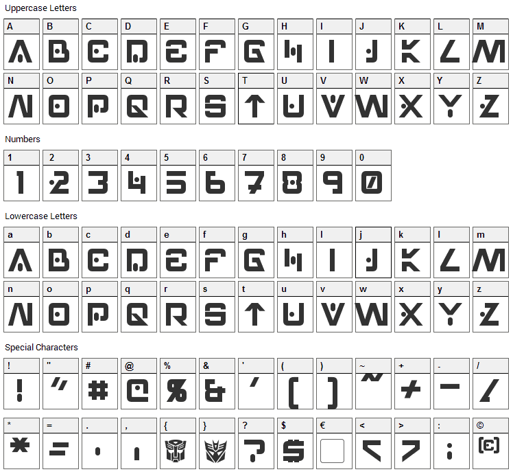 Hellpoint Font Character Map