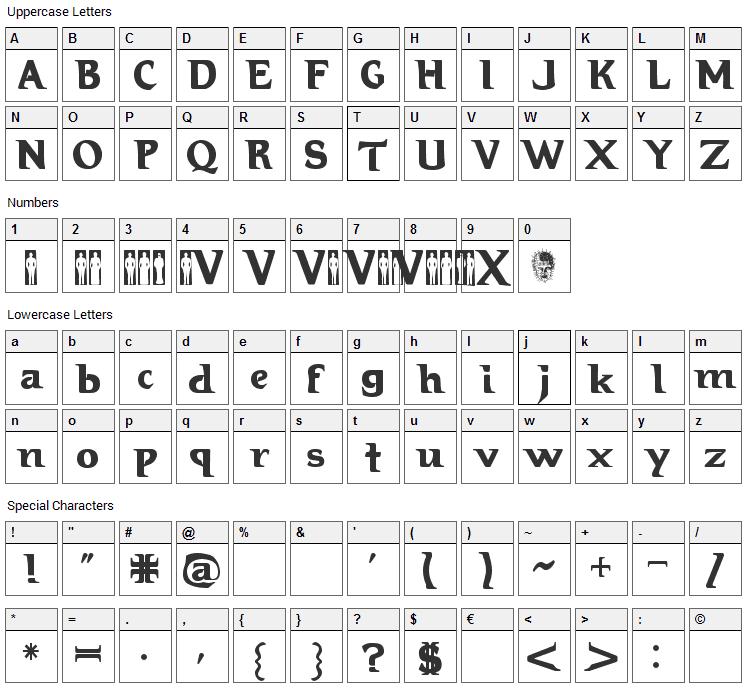 Hellraiser 3 Font Character Map