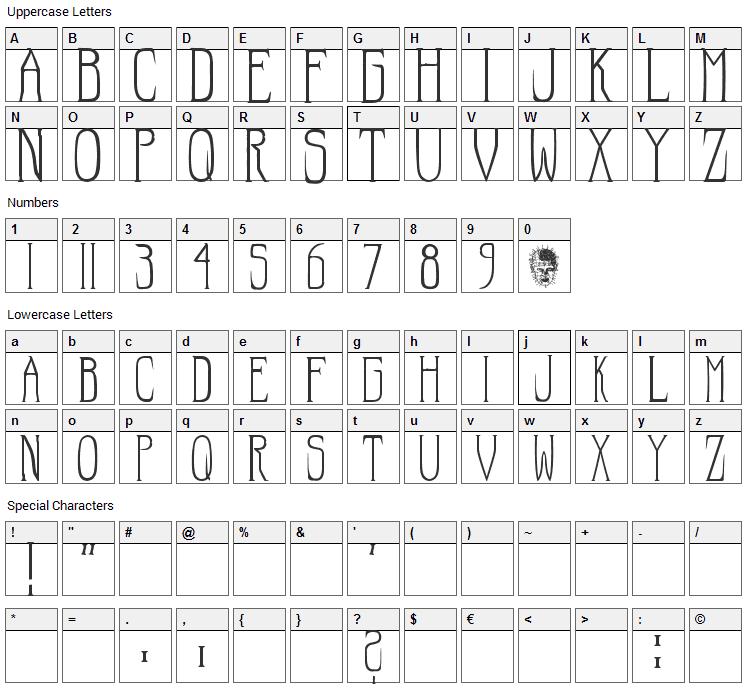 Hellraiser Font Character Map