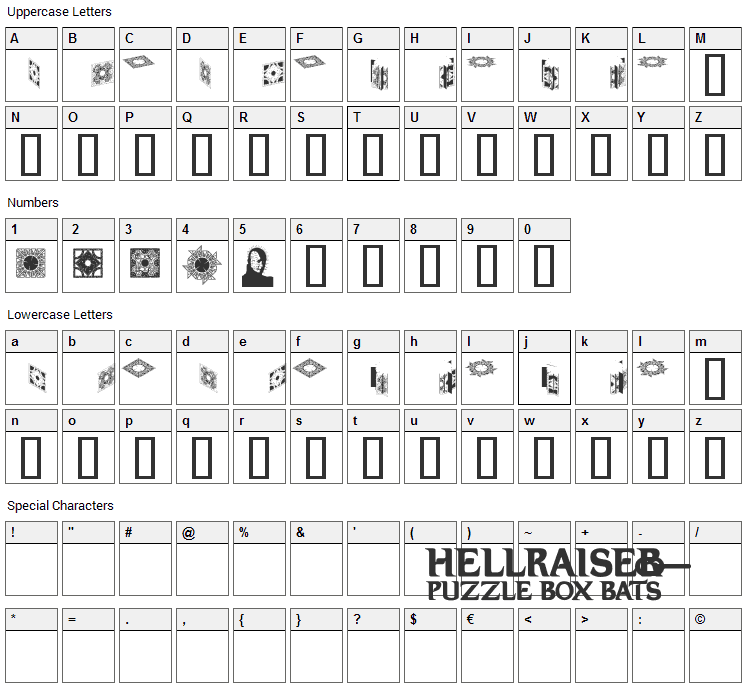 Hellraiser Puzzlebox Bats Font Character Map