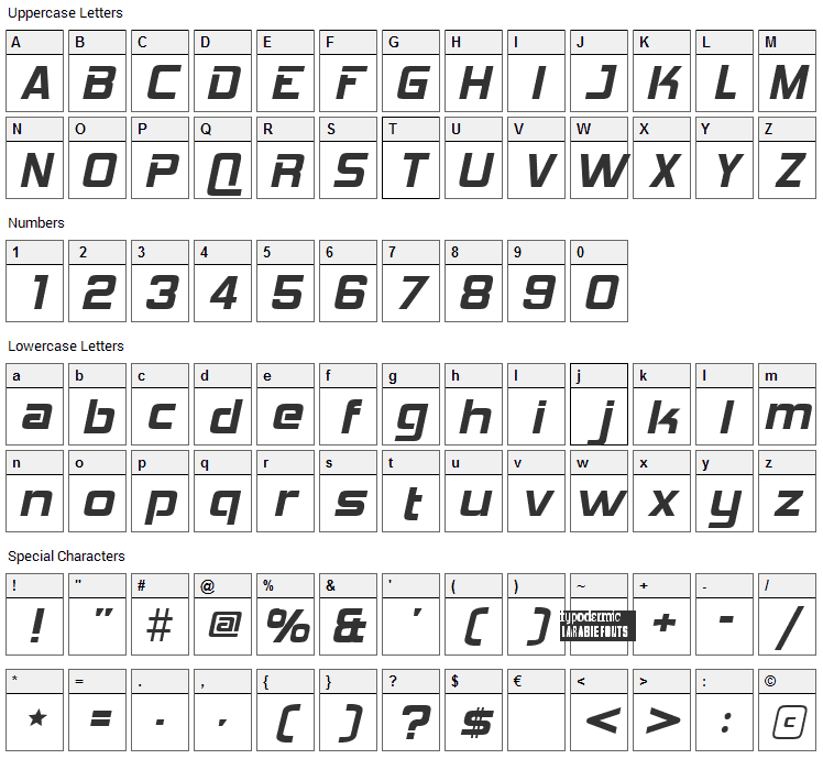 Hemi Head 426 Font Character Map