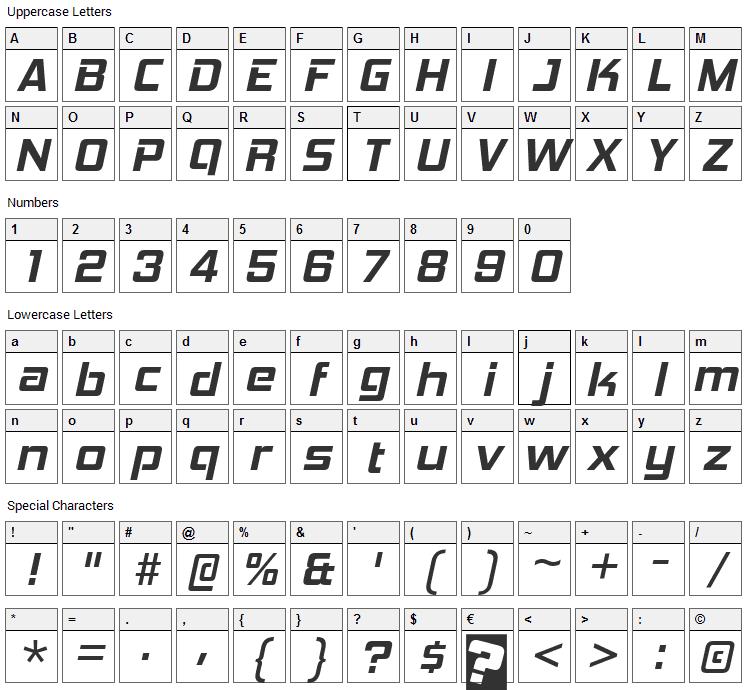 Hemi Head Font Character Map