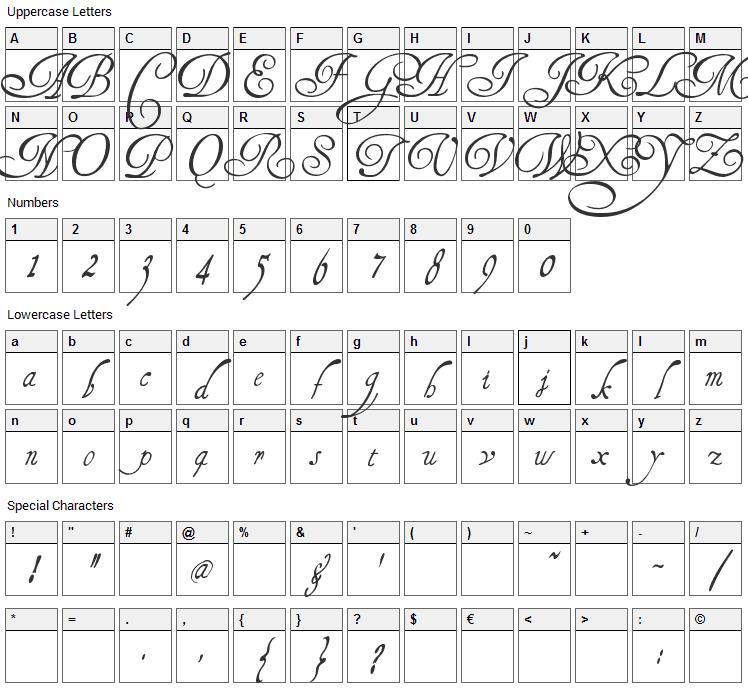 Henry Morgan Hand Font Character Map