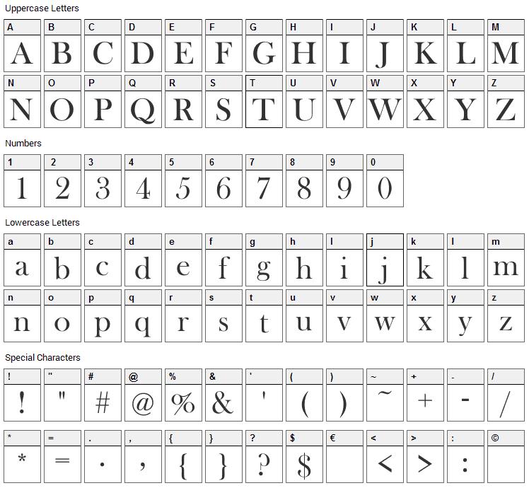 Henson Baskerville Font Character Map