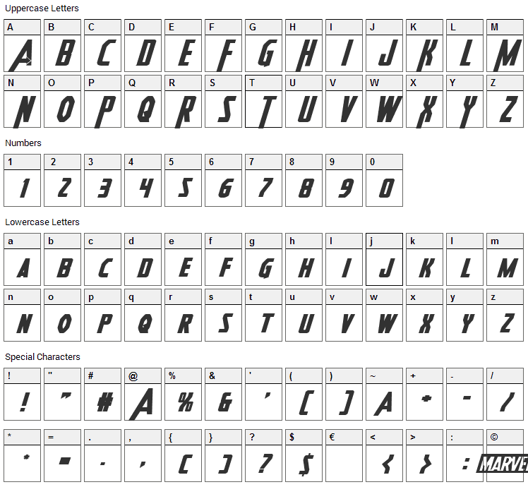Heroes Assemble Font Character Map