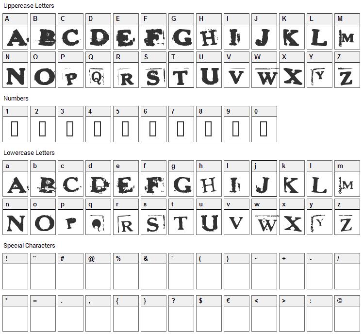 Heroin Sheik Font Character Map