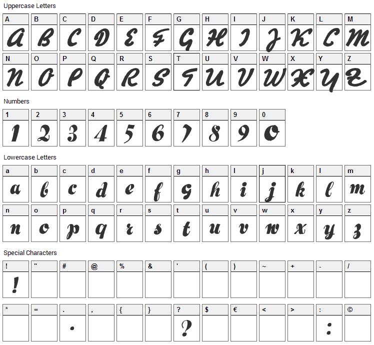 Hertz Oscillations Font Character Map
