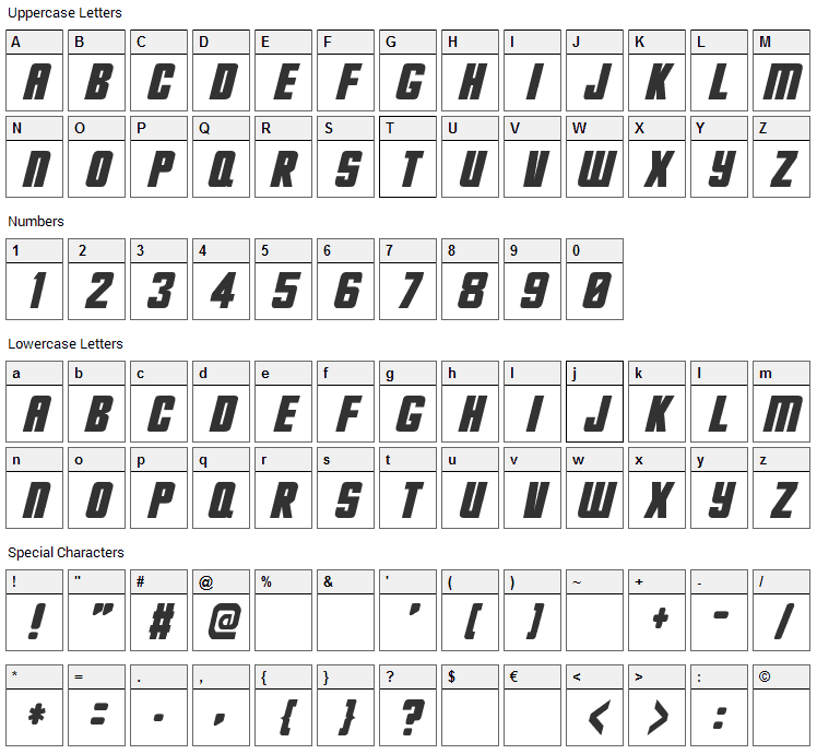 Hes dead Jim Font Character Map