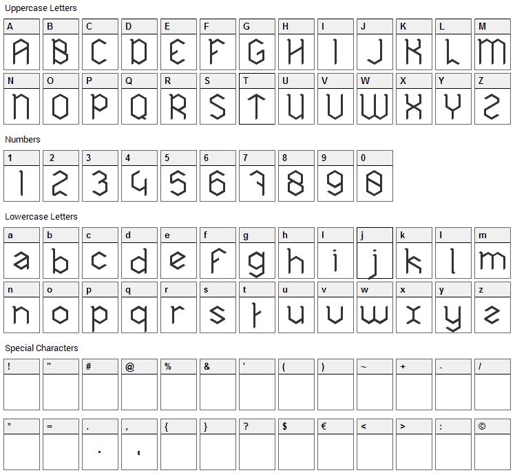 Hexa Font Character Map
