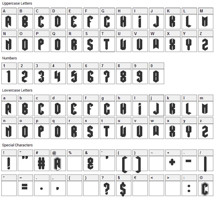 Hexatus Font Character Map