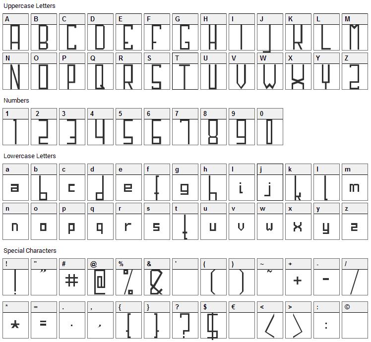 HiBlok Font Character Map
