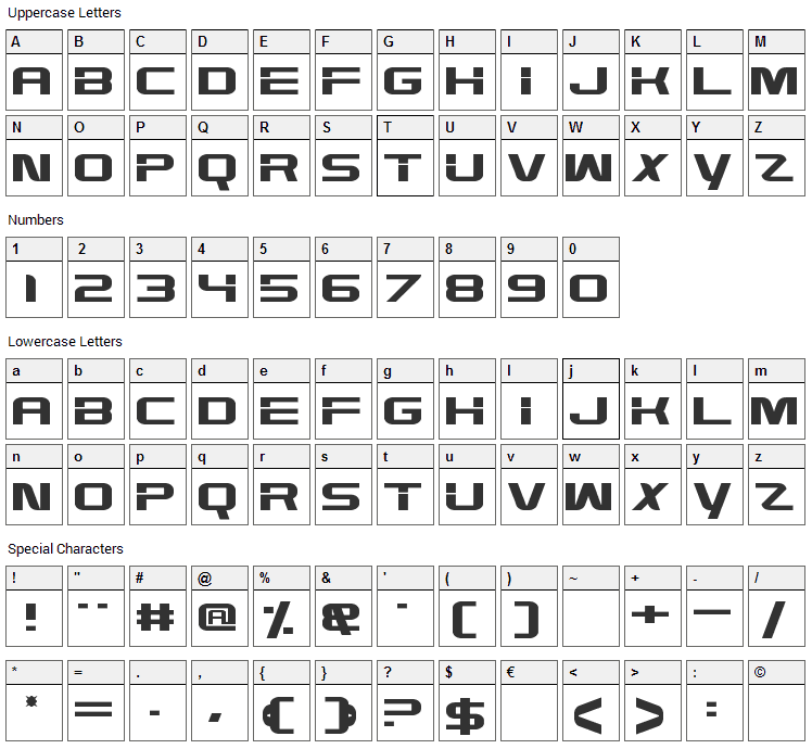 High Def Font Character Map