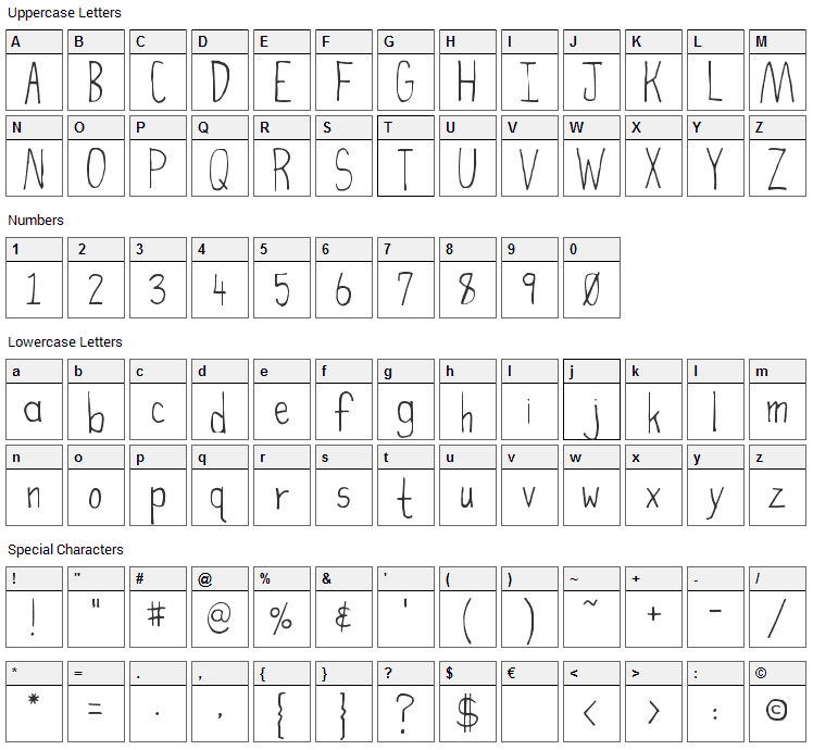 High Fiber Font Character Map