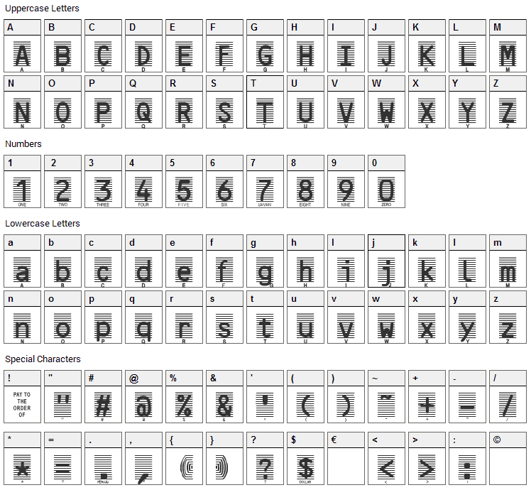 High Security Font Character Map