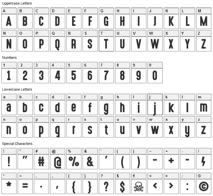 High Voltage Font Character Map